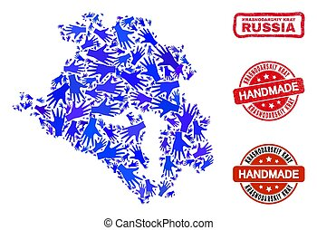 Hand Collage of Krasnodarskiy Kray Map and Grunge Handmade ...