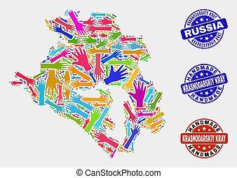 Hand Collage of Krasnodarskiy Kray Map and Textured Handmade...