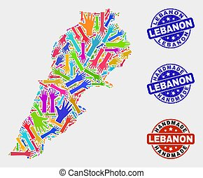 Hand Collage of Lebanon Map and Scratched Handmade Stamps