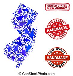 Hand Collage of New Jersey State Map and Distress Handmade Stamps