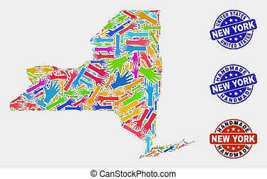 Hand Collage of New York State Map and Scratched Handmade Seals