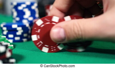 Hand Collects Red Poker Chips - Dealer Hand Collects Red...