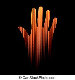 hand coming out from darkness