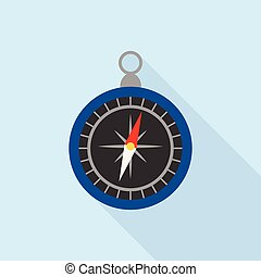 Hand compass icon, flat style
