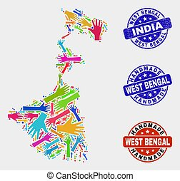 Hand Composition of West Bengal State Map and Distress Handmade Stamps