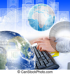 hand, computer, menselijk, toetsenbord