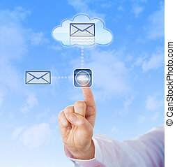 Hand is copying a virtual document into a cloud application. Index finger is touching a computer key displaying a cloud computing icon. Technology concept for remote backup and resource sharing.