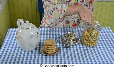 hand cornflower tea