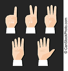 hand counting signs - Hand counting finger signs set vector...