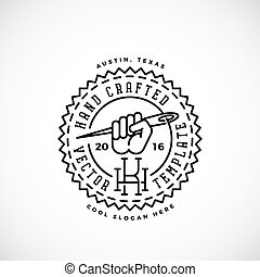 Hand Crafted Abstract Retro Vector Logo Template. Fist with Needle Symbol, Thread and Vintage Typography.