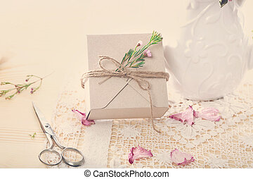 Hand crafted gift box with flower petals