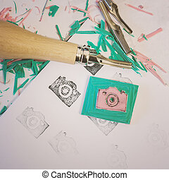 Hand crafting rubber stamps