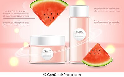 Hand cream watermelon Vector realistic mock up. Product...