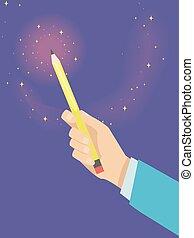 Hand Creative Writing Pencil Illustration