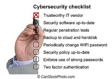 Hand crosses off the first item of a cybersecurity checklist...