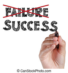 hand crossing out failure and writing success on transparent...