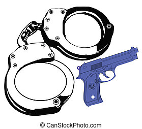 hand cuffs gun and violence - handcuffs with gun on the side