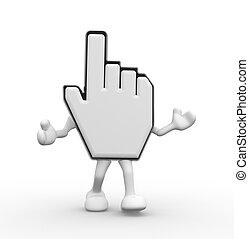 Hand cursor - 3d hand cursor. 3d render