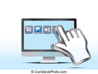 hand cursor and computer