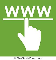 Hand cursor and website icon green