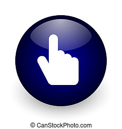 Hand, cursor blue glossy ball web icon on white background. Round 3d render button.