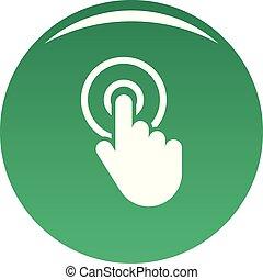 Hand cursor click icon vector green