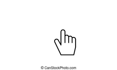 Hand cursor Clicking. Finger touch the screen. Computer mouse click gesture. Animated icon technology and internet on white screen background. Chroma key