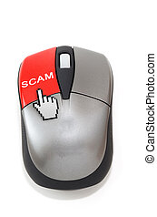 Hand cursor clicking on scam button