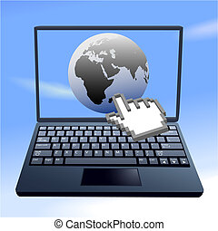 Hand cursor clicks on internet eastern world sky computer