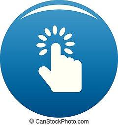 Hand cursor icon blue vector