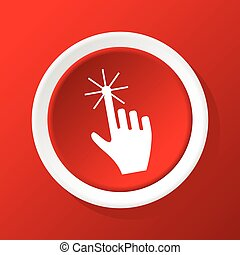 Hand cursor icon on red - Round white icon with image of ...