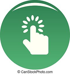 Hand cursor icon vector green