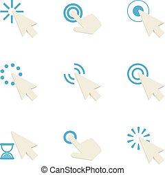 Hand cursor icons set, cartoon style