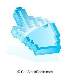 Hand cursor - Illustration of a blue hand cursor icon ...