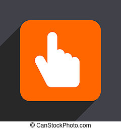 Hand, cursor orange flat design web icon isolated on gray background