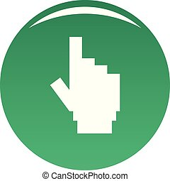 hand cursor pixel icon vector green
