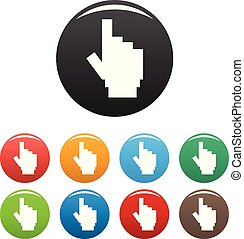 hand cursor pixel icons set color vector