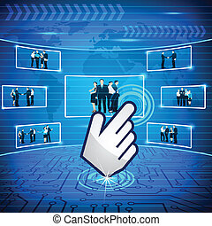 Hand Cursor selecting Business Team