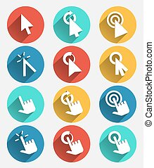 Hand cursor signs, arrow pointer symbols and click icons with long shadows vector set