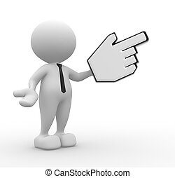 Hand cursor - 3d people - man, person pointing with big...