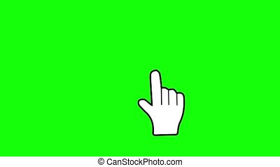 Hand cursor touch with explosion. Click icon animation Green screen. Chroma key