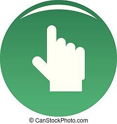 hand cursor website icon vector green