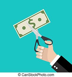 Hand cutting money bill in half with scissors. - Businessman...