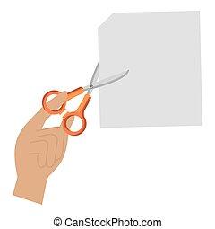 hand cutting notebook sheet with scissors