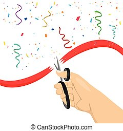 hand cutting red ribbon with scissors on white background with colorful confetti