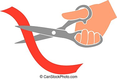 hand cutting ribbon with scissors - hand cutting red ribbon...