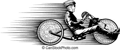 Hand Cycle Racer - Illustration in black and white of a hand...