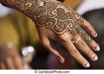 Hand Decorated With Traditional Henna Tatoo