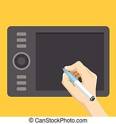 Hand, digital pen, graphic tablet