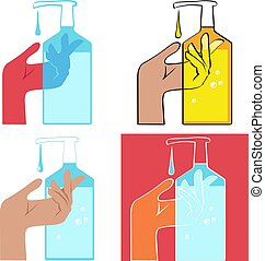 Hand disinfection - Using hand sanitizing gel, graphic set, ...